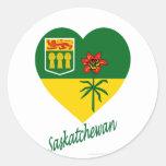 Saskatchewan Flag Heart with Name Classic Round Sticker