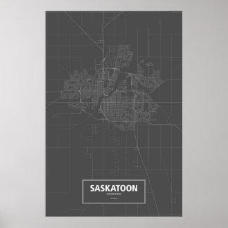 Saskatoon, Saskatchewan (white on black) Poster