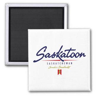 Saskatoon Script 2 Inch Square Magnet