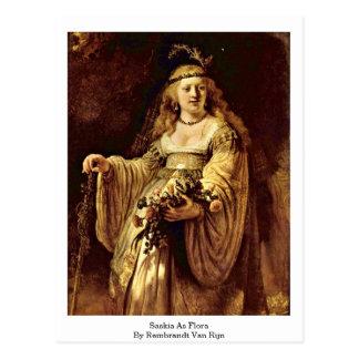 Saskia As Flora By Rembrandt Van Rijn Postcard