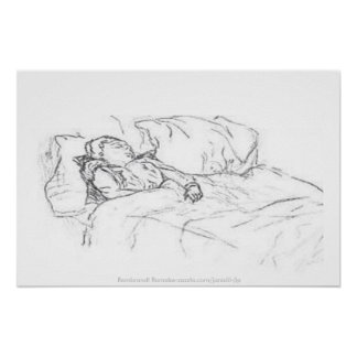Saskia dormido en la cama, Remake-jlp de Rembrandt Póster