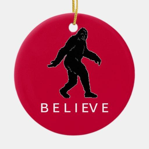 Sasquatch Believe Ornament (Red)