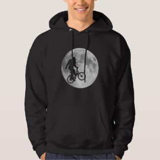 Sasquatch Bigfoot on Bike in Sky with Moon Hoodie