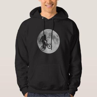Sasquatch Bigfoot on Bike in Sky with Moon Hoodie