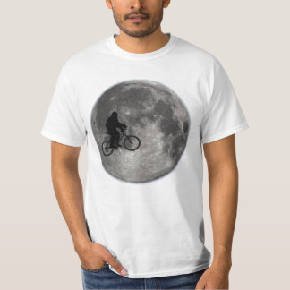 Sasquatch/Bigfoot On Bike In Sky With Moon T-shirt