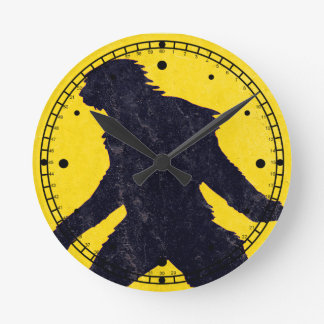 Sasquatch Bigfoot Warning Clock! Round Clock