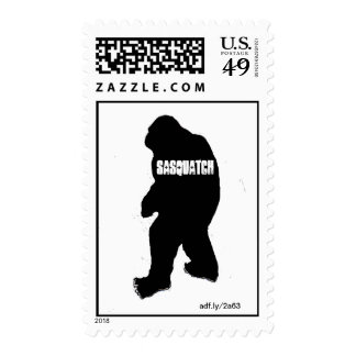 Sasquatch Black Silhouette Postage Stamps