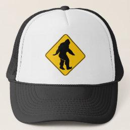 Sasquatch crossing trucker hat