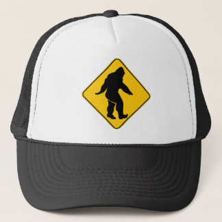 Sasquatch crossing trucker hat