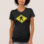 Sasquatch Crossing Warning Sign Trucker Shirt