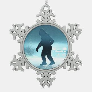 Sasquatch Encounter Snowflake Pewter Christmas Ornament