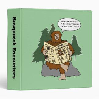 Sasquatch Encounters Cartoon 3 Ring Binder