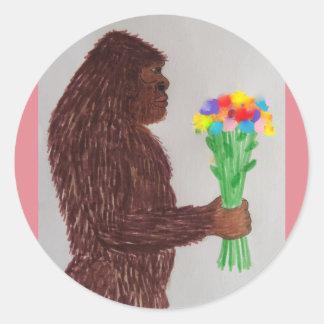 Sasquatch florece amor pegatina redonda