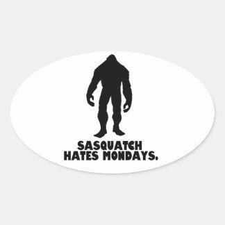 Sasquatch Hates Mondays Oval Sticker