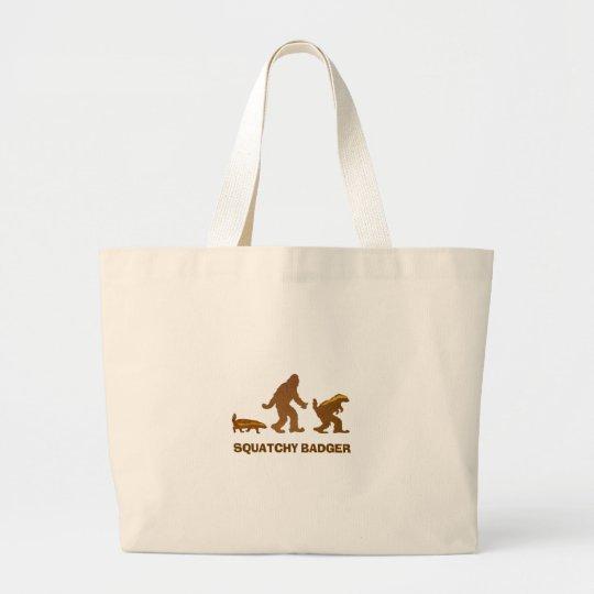 Sasquatch + Honey Badger + Love = Squatchy Badger Large Tote Bag