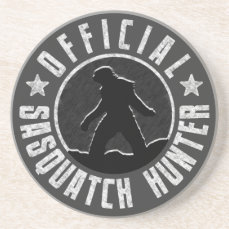 Sasquatch HUNTER Circle logo Sandstone Coaster