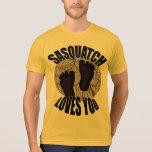 Sasquatch le ama camiseta del oro de Bigfoot