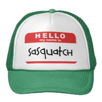 sasquatch name badge trucker hat big foot bobo