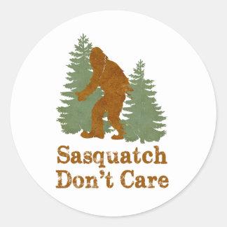 Sasquatch no cuida etiqueta redonda