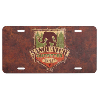 Sasquatch Outfitter Company License Plate - Rust