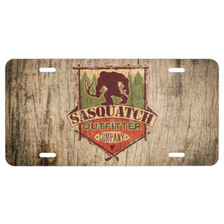 Sasquatch Outfitter Company License Plate - Wood