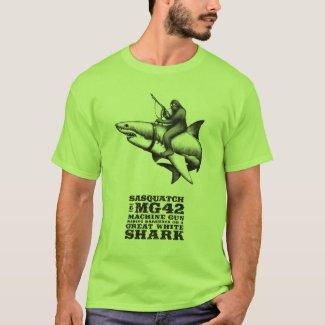 Sasquatch Riding a Great White Shark T-Shirt
