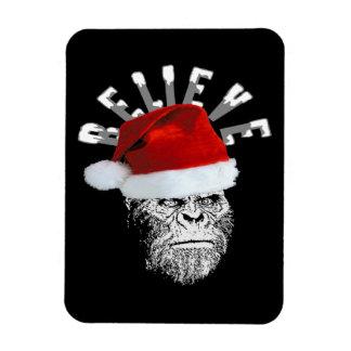 """Sasquatch Santa """"Believe"""" Premium Christmas Magnet"""