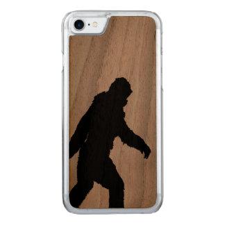 Sasquatch Silhouette on Carbon Fiber decor Carved iPhone 7 Case