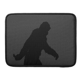 Sasquatch Silhouette on Carbon Fiber Print MacBook Pro Sleeve