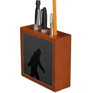 Sasquatch Silhouette on Carbon Fiber Print Pencil Holder