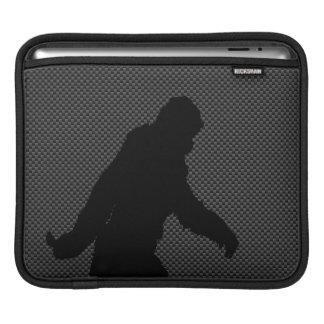 Sasquatch Silhouette on Carbon Fiber Print Sleeve For iPads