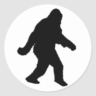 Sasquatch Squatchin' Silhouette Classic Round Sticker