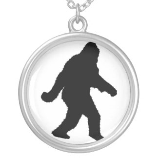 Sasquatch Squatchin' Silhouette Silver Plated Necklace