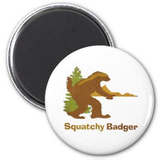 Sasquatch + Tejón de miel + Amor = tejón de Squatc Imán Redondo 5 Cm