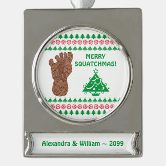 Sasquatch Track Bigfoot Yeti Funny Christmas Silver Plated Banner Ornament