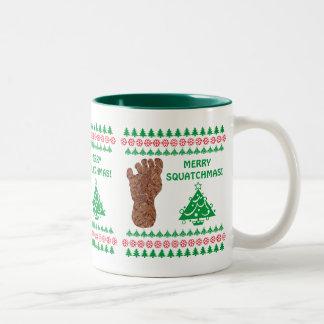 Sasquatch Track Merry Squatchmas Bigfoot Two-Tone Coffee Mug