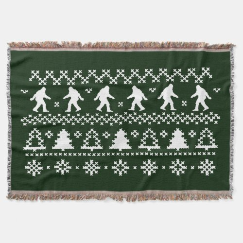 Sasquatch Ugly ChristmasThrow Blanket