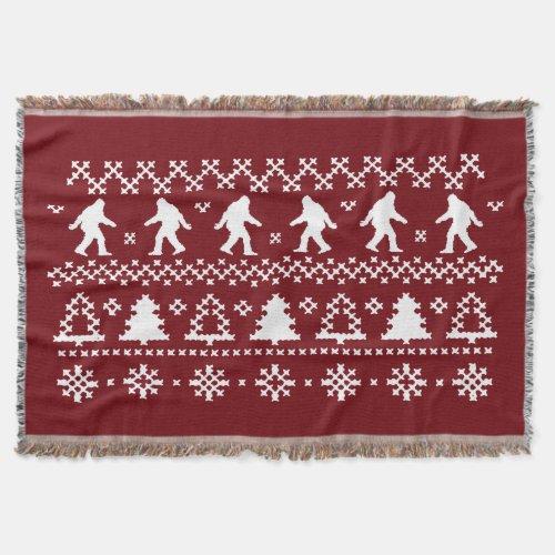 Sasquatch Ugly Christmas Throw Blanket