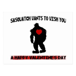 Sasquatch Valentines Day Postcard