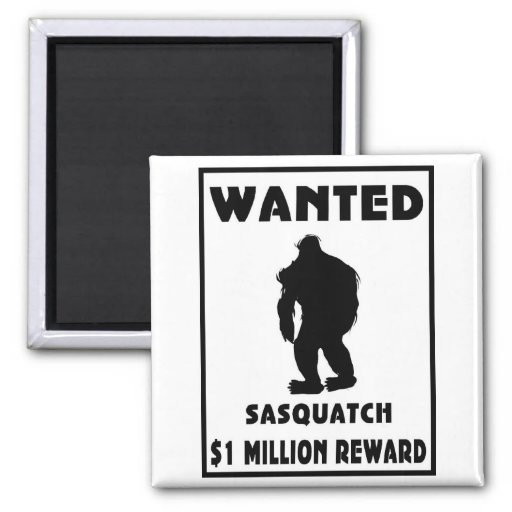Sasquatch Wanted Poster 2 Inch Square Magnet