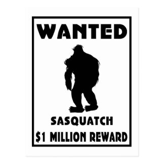 Sasquatch Wanted Poster Postcard