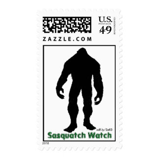 Sasquatch Watch Black Silhouette Postage Stamps