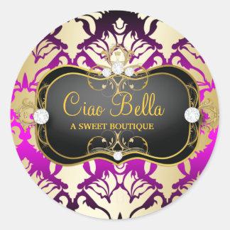 Sass rosado del Ciao Bella de 311 negros azabaches Pegatina Redonda