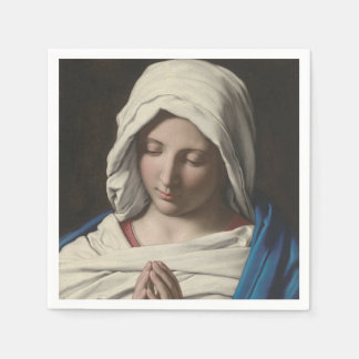 Sassoferrato - Madonna in prayer Paper Napkin