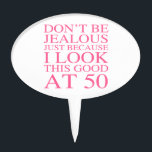 """Sassy 50th Birthday For Women Cake Topper<br><div class=""""desc"""">A funny birthday gift idea for women with sassy attitude.</div>"""