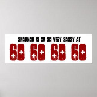 Sassy 60 Sixty Birthday Party Banner Custom Name Poster