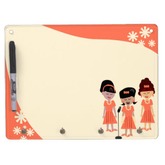 Sassy 60's Girl Group Dry Erase Board With Keychain Holder