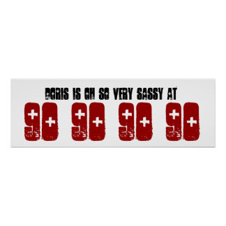 Sassy 90th Birthday Party Banner Custom Name Print
