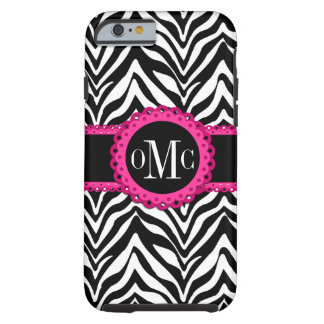 Sassy and Chic Zebra Print Pink Lace Monogram Tough iPhone 6 Case