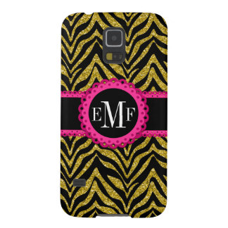 Sassy and Chic Zebra Print Pink Lace Monogram Galaxy S5 Case